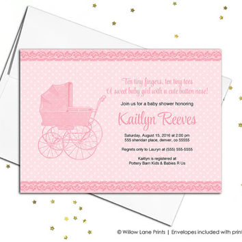 Girl baby shower invitation for baby girl baby shower invite - printable baby shower invitations with baby carriage - vintage (727)