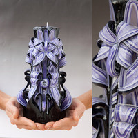 Carved candle -  Black and Purple candle - Large candle