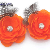 Orange Flower with Rhinestone and Feather Hair Clip