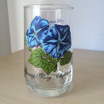 Vintage Drinking Glass, Flower of the Month September Morning Glory, Blue Floral Glass Cup, Birthday Gift