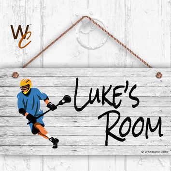 "Lacrosse Sign, Rustic Sports Room Sign, Personalized Sign, Kid's Name, Kids Door Sign, Baby Nursery Art, 5"" x 10"" Sign, Style 1"
