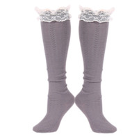 Chunky Cable Knit Lace Boot Socks | Gray