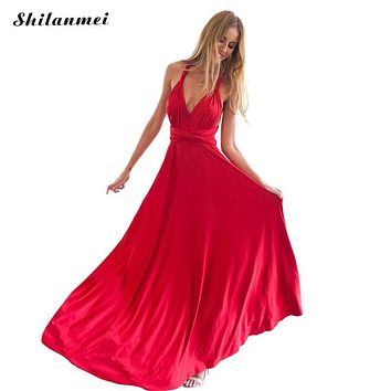 Summer Sexy Dress Women Red Beach Long Bandage Multiway Convertible Dresses Infinity Wrap Robe Boho Maxi Dress Wrap Vestido 2017