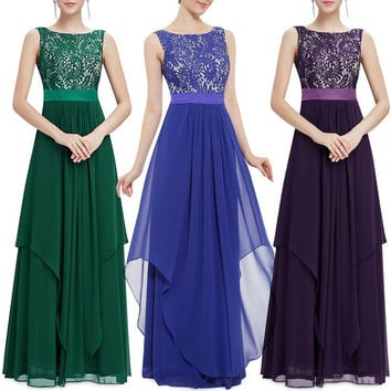S6101 Lace patchwork chiffon maxi dress plus size 2XL sleeveless long floor length evening party dresses new long elegant dress
