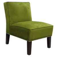 Armless Upholstered Chair - Green/Silver