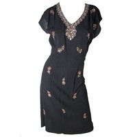 1940s Crepe Dress with Floral Beading - sale