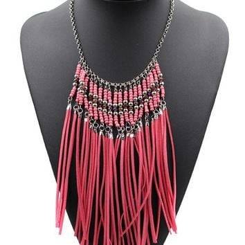 Casual Leather Tassels Boho Necklace