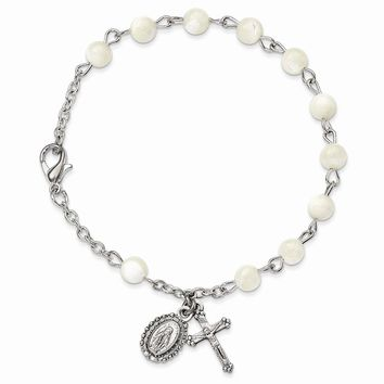 Silver-tone Mother Of Pearl Rosary Bracelet