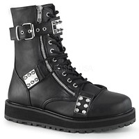 Valor 280 Black Vegan Leather Chrome Plated Spike Plate Ankle Boot