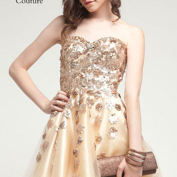 KC14219 Gold Sequin Cocktail Dress by Kari Chang Couture  SALE $125