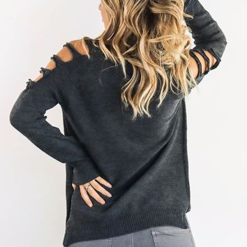 Make My Move Charcoal Open Shoulder Sweater