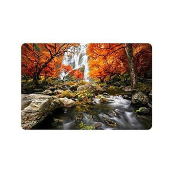 Autumn Fall welcome door mat doormat Waterfall Runoff Landcape Anti-slip  Home Decor, Autumn Fall Forest Indoor Outdoor Entrance  Rubber AT_76_7