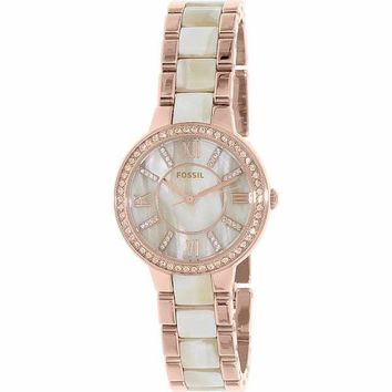 Virginia Rose Gold Stainless Steel Quartz Fossil Watch For Women