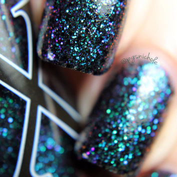 Vashta Nerada - Shifty Black and Multichrome Microglitter Polish