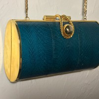 Vintage Cylindrical Hard Shell Evening Bag / Gold Tone Metal and Dark Green Snakeskin Clutch Purse / Black Velvet Lining / Long Chain Strap