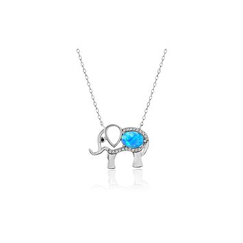 """Opal Created Elephant Necklace with Swarovski Crystals 18"""" - White Gold"""