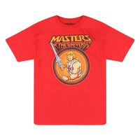 Masters Of The Universe Logo And Full Color He-Man Graphic Men's Red T-shirt