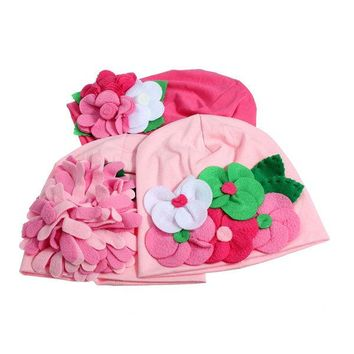 Baby Girl Cute Handmade Flower Hat Soft Cotton Knit Crochet Beanie Cap Headband