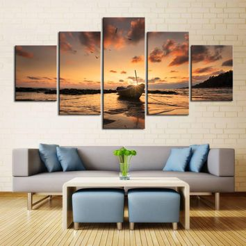 Ocean Sea Surf at Sunrise Sunset on Beach Wall Art 5 Panel Picture Print