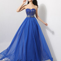 Fashion Womens Long Party Prom Blue Dress Chiffon Evening Cocktail Military Ball Gown