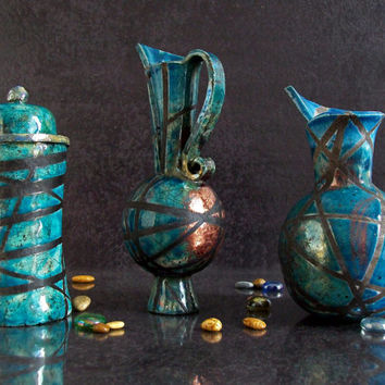 Set small pots and jars ceramic raku - 3 pieces - blue copper