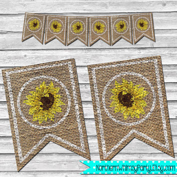 Fall or Thanksgiving Burlap Sunflower Banner – DIY Printable Home Decor – Rustic Autumn Decoration – Burlap Floral Banner - INSTANT DOWNLOAD