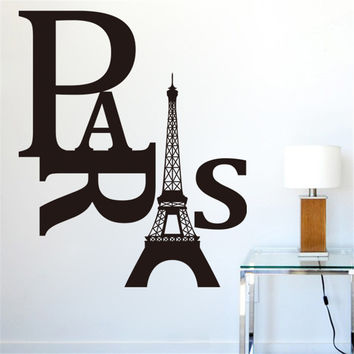 paris eiffel tower quotes wall stickers decorations 8186. diy home decals vinyl art room mural posters adesivos de paredes 4.5