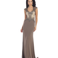 Taupe Sheer Lace Beaded Dress 2015 Prom Dresses