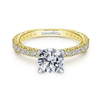 14K Yellow Gold 1.40cttw Pave Diamond Engagement Ring