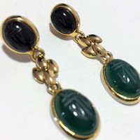 Black Onyx Chyrsoprase Scarab Earrings Pierced Post Style Gold Tone Panther Link  Dangling Design Egyptian Revival 318