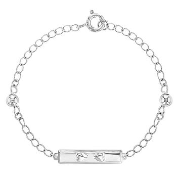 """925 Sterling Silver Tag ID Heart Chain Link Bracelet for Toddlers or Girls 5.5"""""""