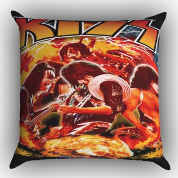 Kiss Band Zippered Pillows  Covers 16x16, 18x18, 20x20 Inches