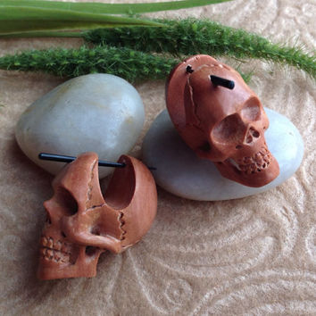 "Stick Post Earrings, ""Ghosts of the Gobi""  Naturally Organic, Saba Wood, Handcrafted, Tribal"