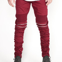 The Tiller Stacked Moto Pants in Maroon