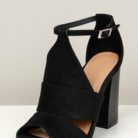 Cut Out Peep Toe Heel Black