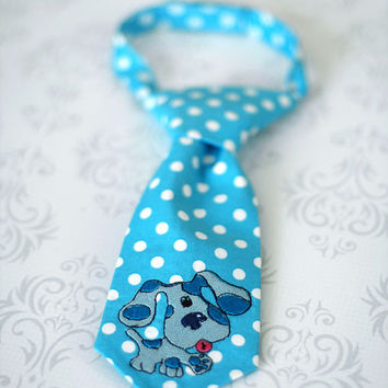 Little Guy Tie - Blue Blues Clues Tie - Infant through 8 Years - Pre-Tied with Adjustable Velcro Closure