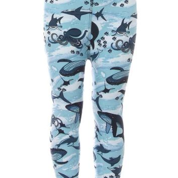 Kid's Colorful Whale Shark Octopus Pattern Printed Leggings