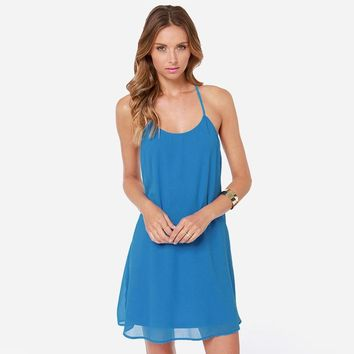 Summer western style fashion slim backless  woman's Casual a-line dress