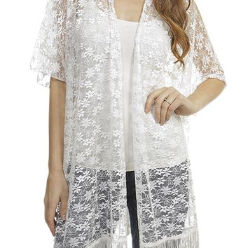 Lounge Relax Vacation Sexy Beach Spa Lace with fringes Kimono Cover Up