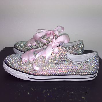 Danity All Star Converse With Double AB Crystals & Baby Pink Laces