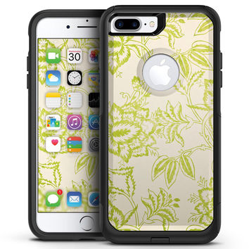 White and Green Floral Damask Pattern - iPhone 7 or 7 Plus Commuter Case Skin Kit