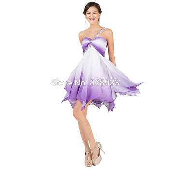 2015 Fashion Women Ombre Colorful High Waist Cute Short Purple White Prom Dress 2015 Mini Party Dress Sexy Dancewear 007540 - BRIDESMAID DRESSES BRIDAL GOWNS PROM