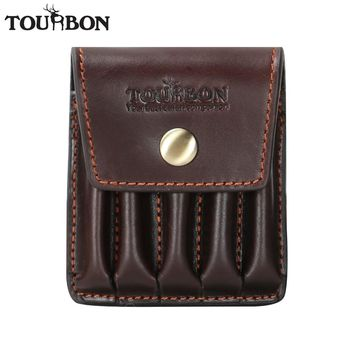 Tourbon Hunting Vintage Genuine Leather Cartridges Holder Ammo Shells Pouch 5 Rifle Bullet Rounds Wallet Carrier Gun Accessories