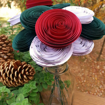 Christmas Paper Flower Bouquet, Red, Dark Green and Music Sheet Paper - Handmade Paper Flowers for Brides, Weddings, Showers, Birthdays