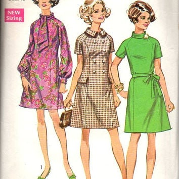 Simplicity 60s Sewing Pattern 8358 Plus Size Full Figure Mad Men Retro  Style Mini Dress Tie Collar High Neck Bust 45
