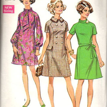 856d3626ab8 Simplicity 60s Sewing Pattern 8358 Plus Size Full Figure Mad Men Retro  Style Mini Dress Tie