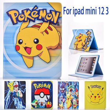 Case for Apple ipad mini 1 2 3 mini 3 case  Go cute Pikachu cartoon tablet PU leather Cover Flip stand shell coque paraKawaii Pokemon go  AT_89_9