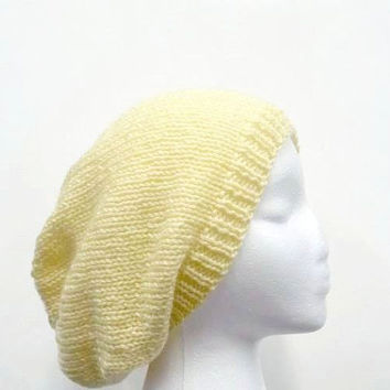 Yellow slouch hat, womens hat, knit slouchy, yellow knit hat  4701