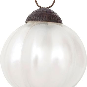 Luna Bazaar Mercury Glass Ornament (Posey Design, 3-Inch, Pearl White) - Vintage-Style Decoration