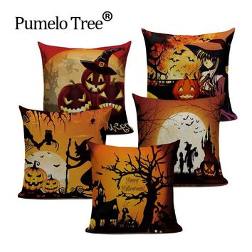 European Style Halloween Series Cushion Cover happy day Throw Pillow Skull Halloween Pumpkin Faces Sofa Bedroom Home Decorative